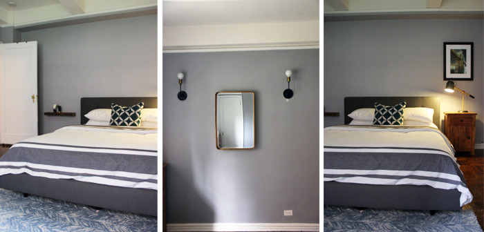 A gray wall color for the bedroom
