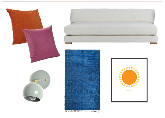 Ideas for a bright happy living room using bold colors pink orange blue and mint