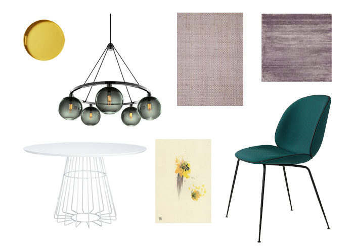 Ideas for using color in dining room decor with yellow, purple, and green