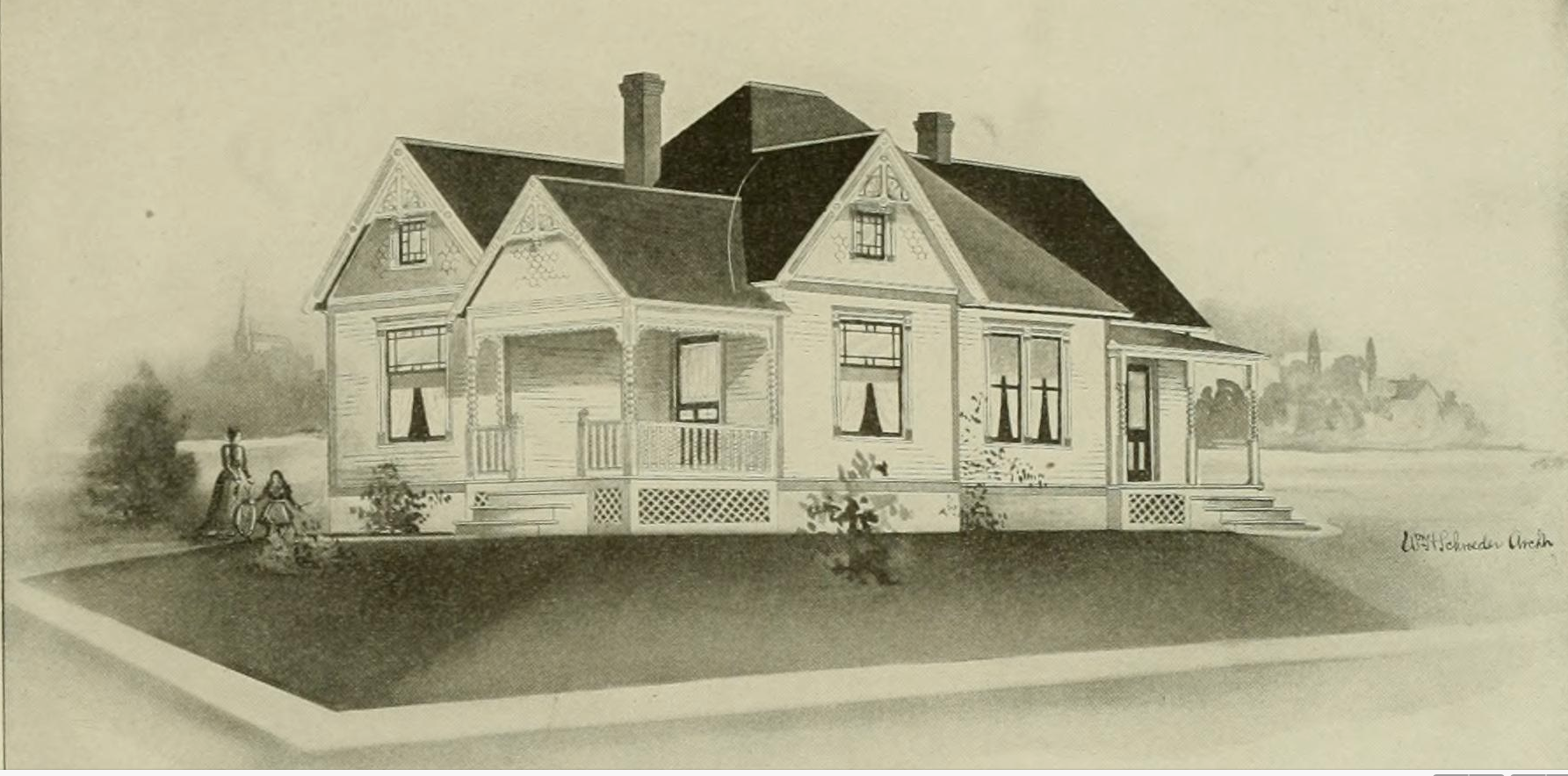 A Rendering of a 1903 Radford Folk Victorian Farmhouse