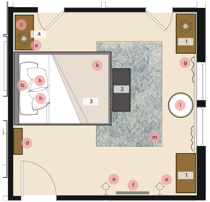 A furniture layout for a bedroom shows the best place to locate a rug