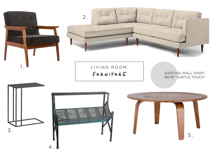 An industrial meets mid modern Living Room furniture inspiration using West Elm sofa