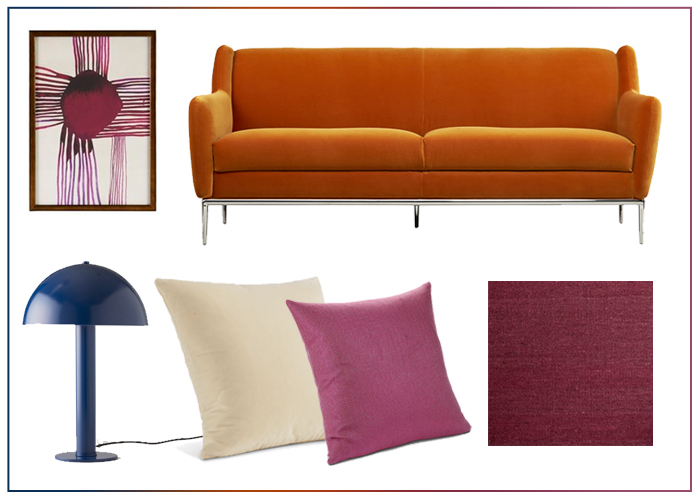 Ideas for decorating and designing with an orange sofa