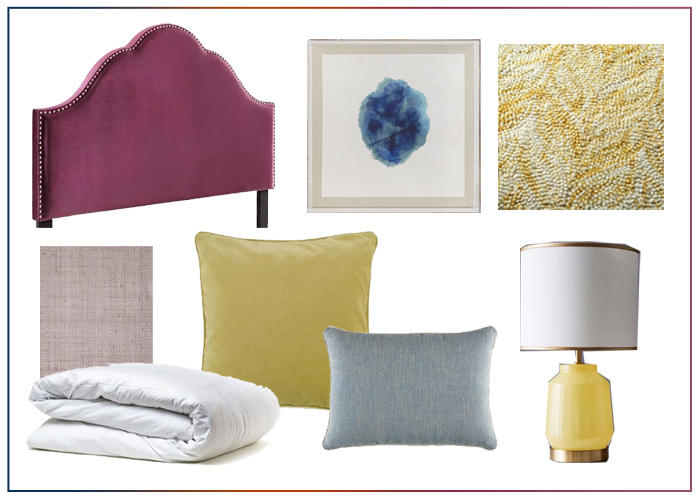 Ideas for using colors plum, purple, yellow, and blue in bedroom decor with an upholstered headboard