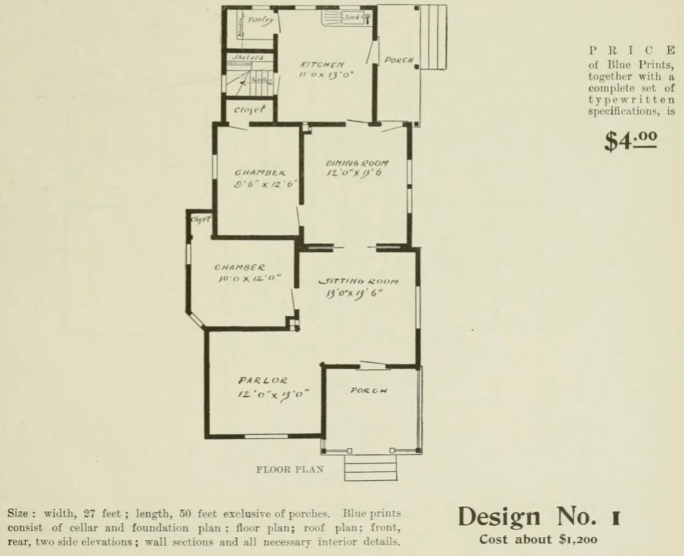 Design No. 1 Floor Plan from Radford Ideal Homes Folk Victorian Farmhouse 1903